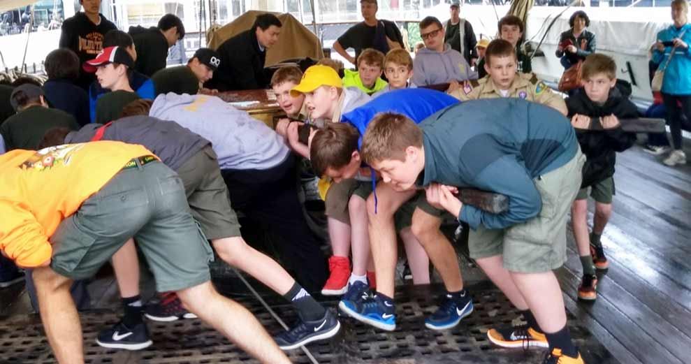 Scout Troops Stay Overnight Aboard USS Constellation
